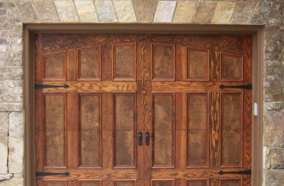 Garage door service custom doors cabinets by sesame for Wood veneer garage doors